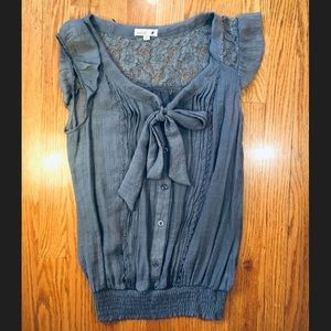 Pussy Bow Sleeveless Blouse Ladies Size Small